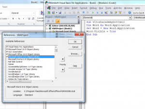 VBA – Opening and closing Word from Excel – Useful code