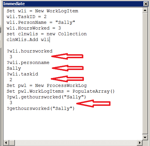 VBA – Working with Classes from the Immediate Window – Useful code
