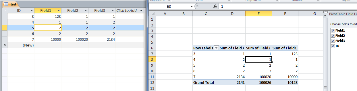 pivot_from_access_in_excel